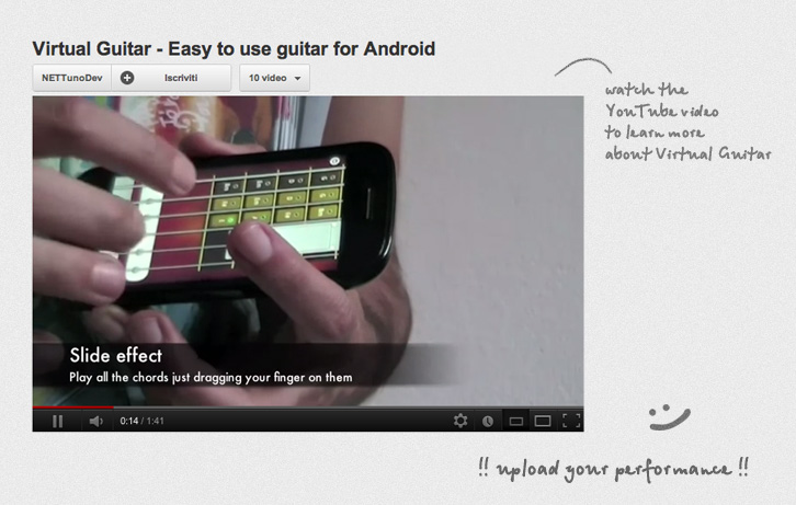 Screenshot of the Virtual Guitar video tutorial on YouTube