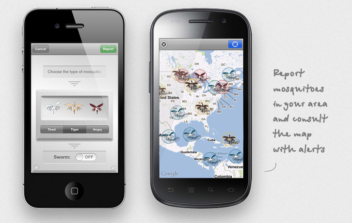 No More Mosquitoes on iPhone and Nexus S, the report and the map views