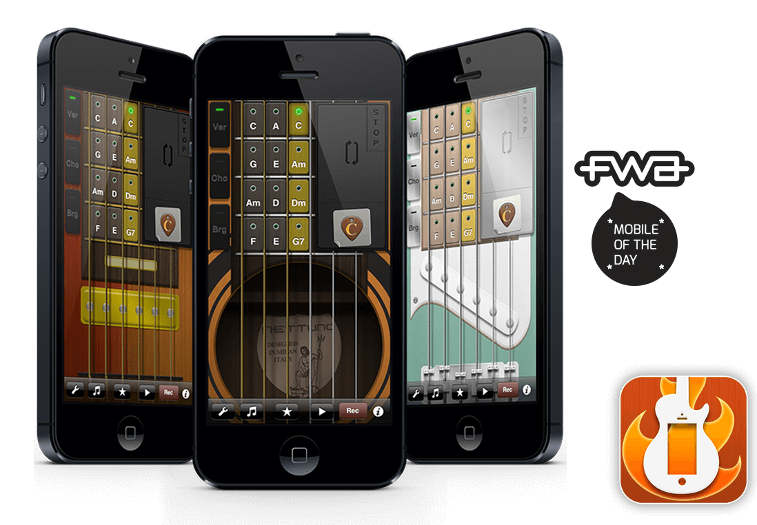 Virtual Guitar 3 on an iOS